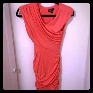Goddess style ruched summer coral dress  🔥